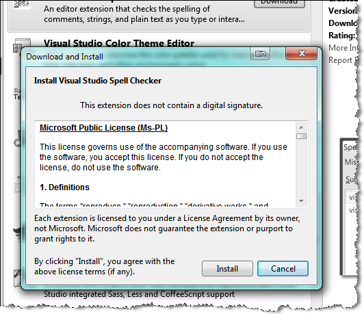 install visual studio spell checker
